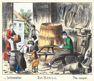 Böttcher, Küfer, Fassbinder, Fässer, Handwerk, Beruf