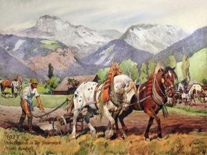 Gemälde: Ackersmann am Pferdepflug