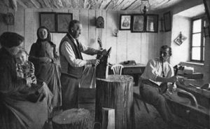 Böhmerwald, Holzschuhmacher, Werkstatt, Familie