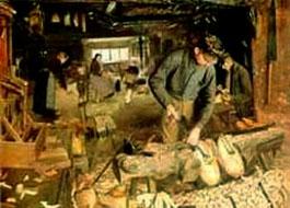Ölgemälde: Holzschumacher-Werkstatt in der einige Männer und Frauen arbeiten