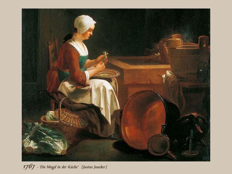 Gemälde: Küchenmagd mit weißer Haubeputzt, am Küchentisch sitzend, Gemüse