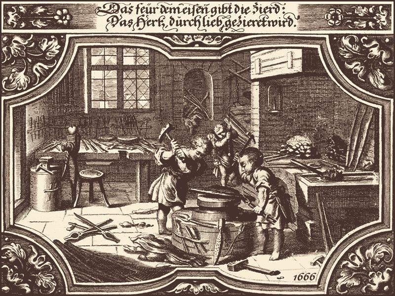 Kupferstich: Putten arbeiten als Schmiede