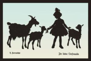 Ziegen, Ziegenmädchen, Silhouettenbild, Schattenbildart