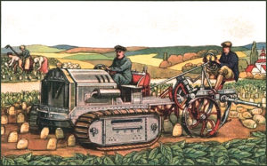 Zuckerrübenfeld, im Hintergrund Bäuerinnen mit Hacke und Schneidemessern beim Abtrebnnen des Rübenkrautes, vorn zwei Bauern auf einer Rübenerntemaschine, der vorder Zugmascjinenteil mit Raupenketten bestückt