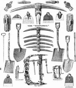 Bergbau, Werkzeuge, Schaufeln, Spitzhacke