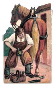 Schmiede. Hufdschmied, Pferd beschlagen