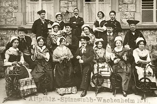 Spinnerinnen, Spinnrad, Gruppenfoto, Pfalz