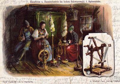 Aquarell: zwei Frauen am Spinnrad, ein Mann sitzt anbei
