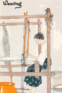 Weberin, weben, Webstuhl, weaving