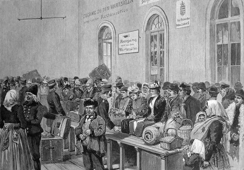 alter Stich: Zollstelle mit vielen ankommenden Reisenden, die ihr Gepäck auf Tische abstellen