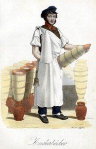 Farbzeichnung: Zuckerbäcker mit Zuckerhut, es stehen Gefäße zum abfließen der Melasse herum