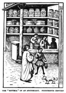 sehr alte sw-Illu: Interieur einer florenzianischen Apotheke; große Gefäße stehen im Regal, zwei Apotheker stellen Medizin her