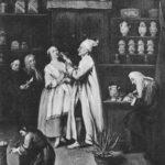 sw-Abbildung: in einer mittelalterlichen Apotheke