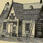 mehrere Dachdecker bringen Dachziegel am Haus an
