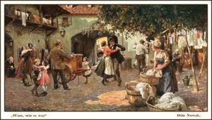 Gemälde: auf einm Hinterhof tanzen einfache Leute und Kinderzur Musik eines Werkelmanns