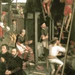 Gemälde: mehrere Bauarbeiter auf einer Baustelle beim Hausbau