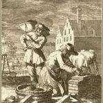 Kupferstich: Maurer und Gehilfen auf einer Baustelle beim Hausbau