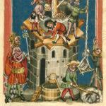 Maurer, Bauhandwerker, Baustelle, Baukran, Turmbau, Mittelalter