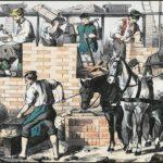 Kolorierte Litho: sieben Maurer auf einer Baustelle beim Hausbau