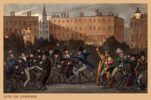 Nachtwächter, Nachtwache, Prügelei, London