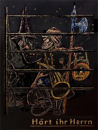Nachtwächter mit Spieß, Laterne und Tröthorn als Kreidezeichng auf einer Wandtafel