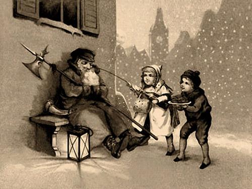 sw Winterbild: Kinder necken auf einer Bank eingeschlafenen Nachtwächter