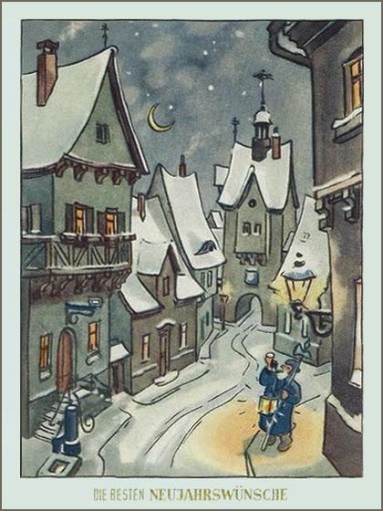 Neujahrskarte mit Nachtwächter im verschneiten Städtchen