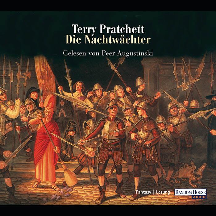 Hörbuch-Cover: abgebildet sind viele aufständische Nachtwächter mit Spießen