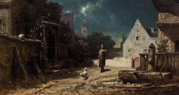 Gemälde: Nachtwächter auf seiner Rund, gefolgt von weißem Hündchen, der sich aber gerade für eine Katze auf einem Schuppendach interessiert