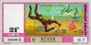 Perlenfischer, Perlentaucher, Lotterieschein, Frankreich