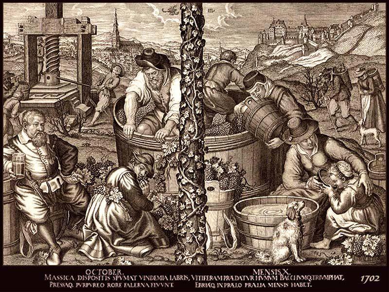 Kupferstich: verschiedene Szenen der Arbeit der Weinbauern, Wein wird herbei gebracht, verlesen, in Holzbottich mit Füßen zerstampft, mit einer Spindelpresse ausgepresst und verkostet