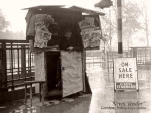Zeitungsverkäufer, Zeitungskiosk, Zeitungen, Zeitungsverkauf