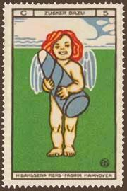 Reklamemarke: kleiner Engel hält großen Zuckerhut in den Armen
