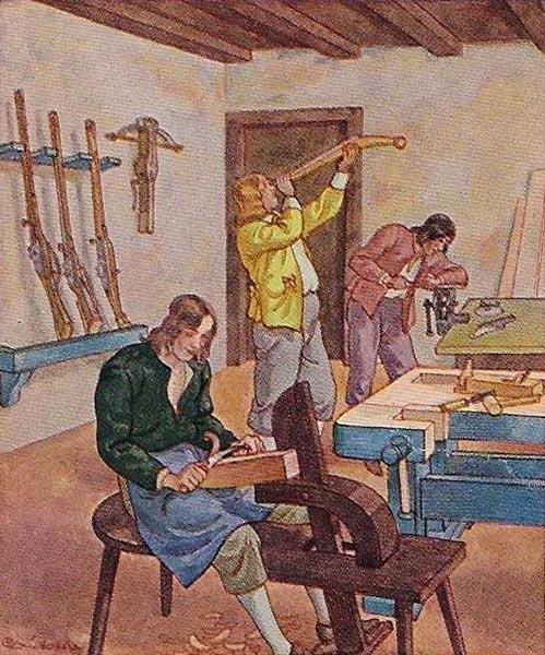 Sammelbild: drei Büchsenschmiede arbeiten in der Werkstatt