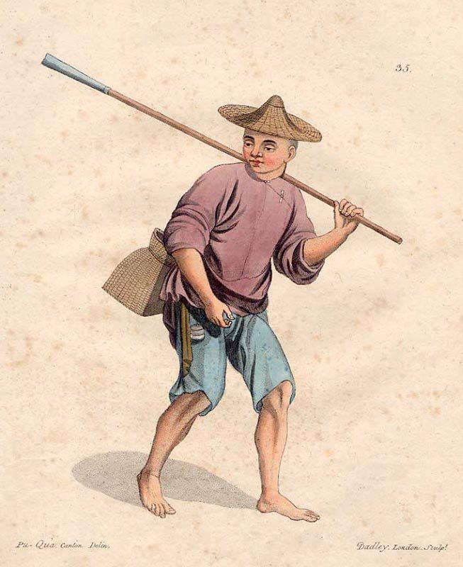 farbige Illustration: Fischer mit Strohhut auf dem Kopf und Stab auf dem Rücken