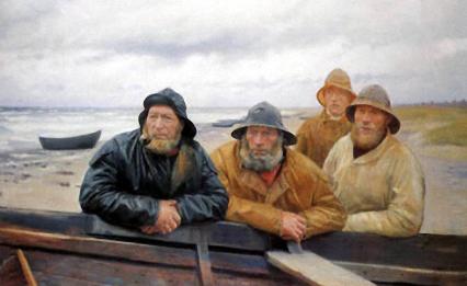 Gemälde: vier Fischer in Regenkleidung lehnen an einem Boot am Strand
