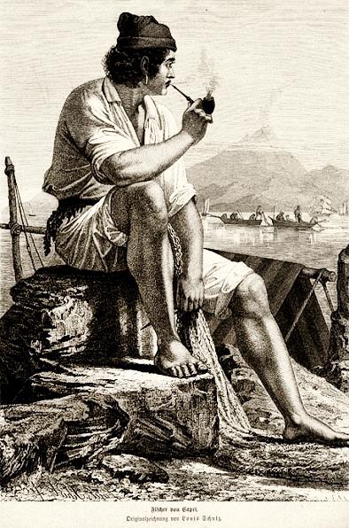 Stich: Fischer sitzt Pfeife rauchend auf einem Stein und schaut anderen Fischern auf dem Wasser zu