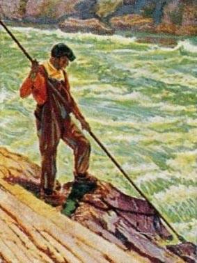 Sammelbild: Fischer mit Speer am Fluss