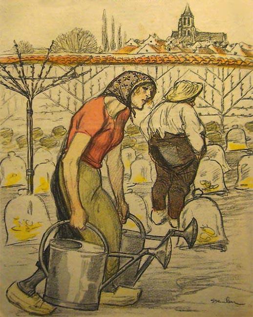 Coverbild einer alten Zeitschrift: Frau schleppt zwei schwere Gießkannen