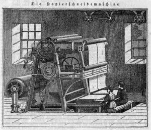 Papiermacher, Papier, Papierschneidemaschine