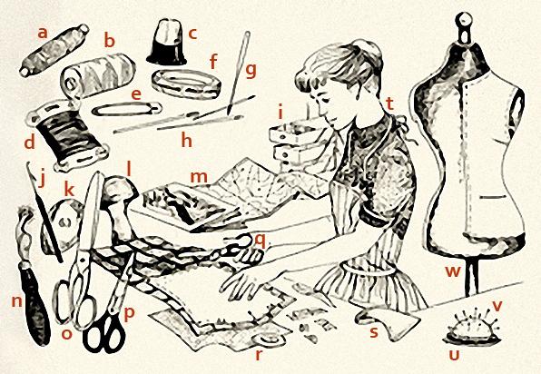 Zeichnung: Schneiderin und einige Utensilien für die Arbeit