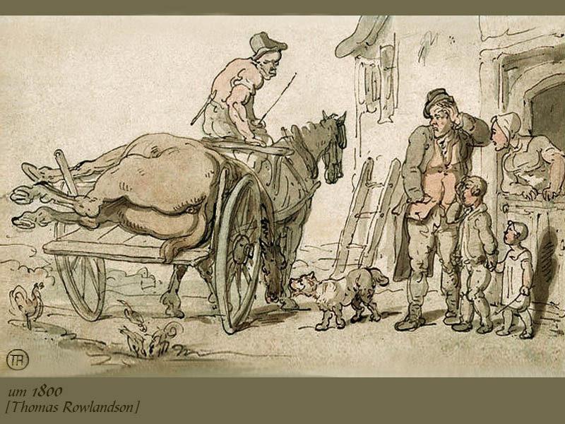 kolorierte Zeichnung: Abdecker holt totes Pferd ab