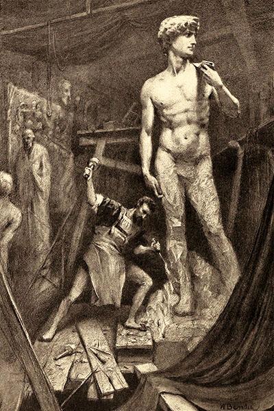 Litho: fiktiv dargestellt wird Michelangelo auf Gerüsten bei der Arbeit am David