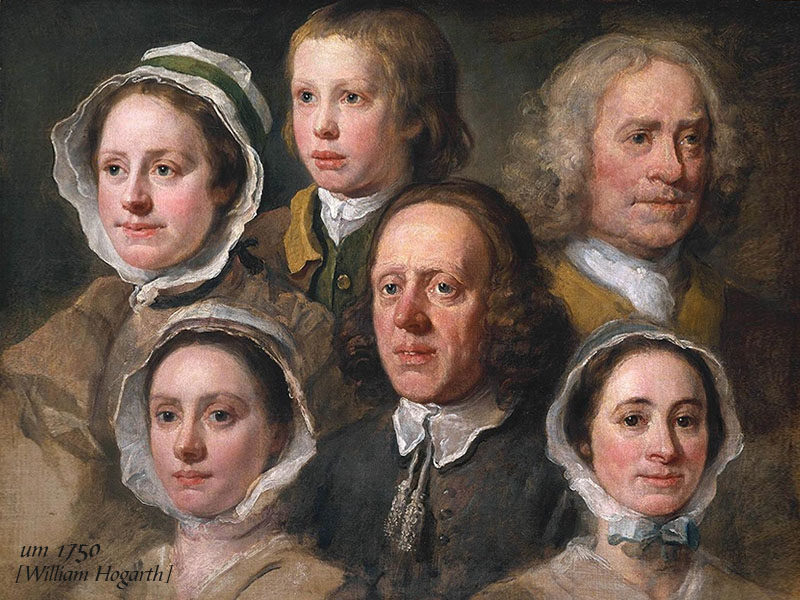Gruppenportrait von drei weibl. und drei männl. Dienstboten