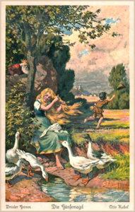 farbige Märchenkarte: Gänsemagd kämmt ihr goldenes Haar und wird vom König beobachtet