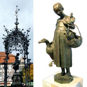 Brunnen und Originalbronzefigur des Gänseliesels