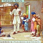 Lehrer, Schüler, Schule, Indien, Liebig-Werbung