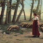Schafe, Schäferin, Schafhirtin, Schafsherde, Campagne