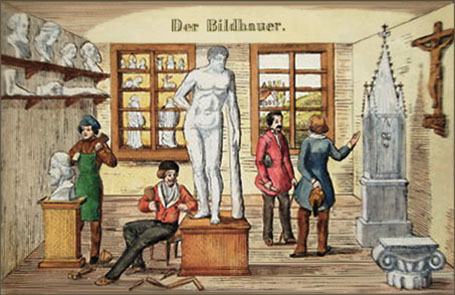 kolorierter Holzstich: zwei Bildhauer arbeiten an Plastiken; ein dritter führt einen Herrn durch die Bildhauerwerkstatt