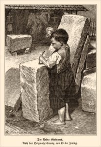 Kohlezeichnung: Knirps bearbeitet mit Meißel und Holzschlägel einen Steinblock , der ihm bis zur Achsel reicht